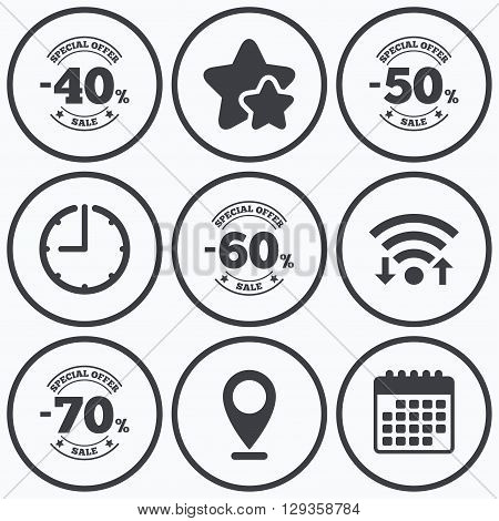 Clock, wifi and stars icons. Sale discount icons. Special offer stamp price signs. 40, 50, 60 and 70 percent off reduction symbols. Calendar symbol.