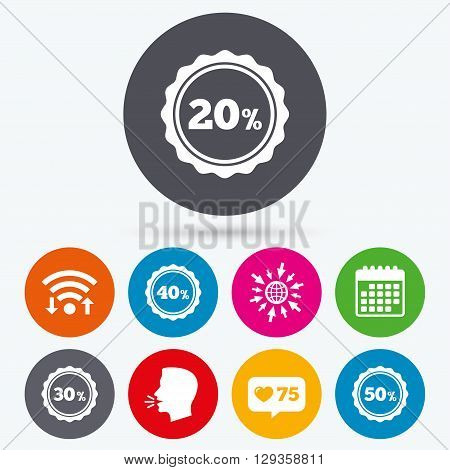 Wifi, like counter and calendar icons. Sale discount icons. Special offer stamp price signs. 20, 30, 40 and 50 percent off reduction symbols. Human talk, go to web.