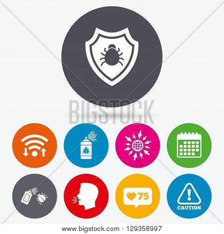 Wifi, like counter and calendar icons. Bug disinfection icons. Caution attention and shield symbols. Insect fumigation spray sign. Human talk, go to web.