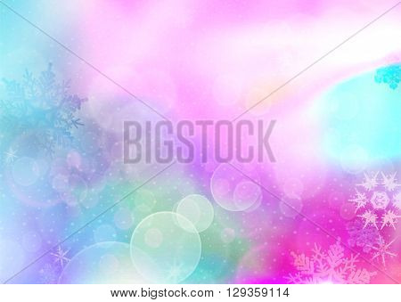 Colorful pattern with bokeh circles and snowflakes