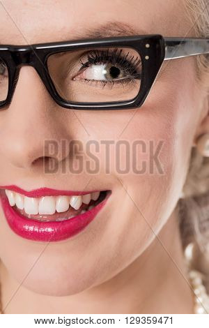 Close Up Shot Of Cute Studious Girl Wearing Spectacles, Isolated On White