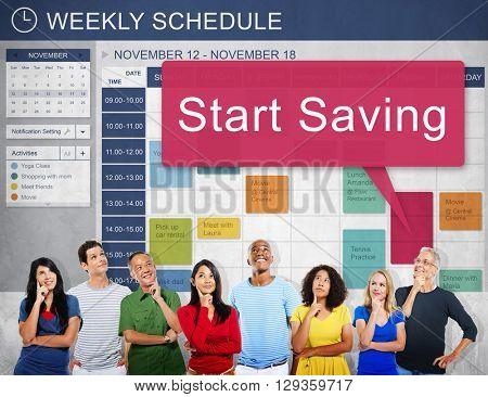 Start Saving Fund Finance Economy Budget Pension Concept