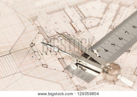 architecture blueprint -  house plan, compass, ruler