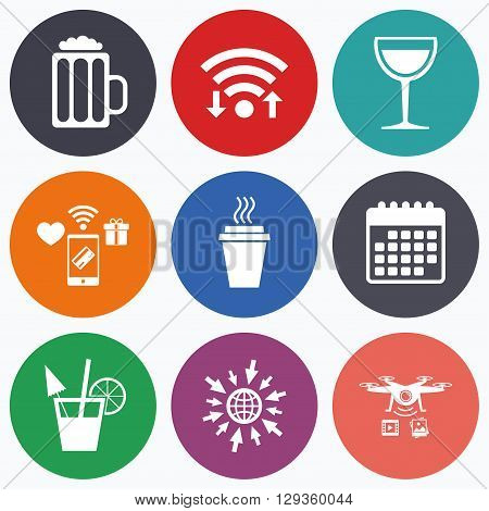 Wifi, mobile payments and drones icons. Drinks icons. Take away coffee cup and glass of beer symbols. Wine glass and cocktail signs. Calendar symbol.