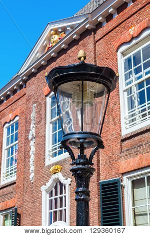 old street lamp in front of old buildings in Utrecht Netherlands