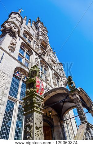 chime at the historical city hall in Gouda Netherlands