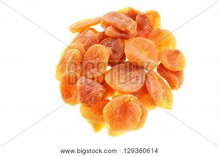 Dried apricots isolated on a white background