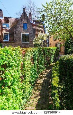 path through a historical courtyard in Gouda Netherlands