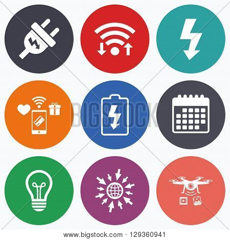 Wifi, mobile payments and drones icons. Electric plug icon. Lamp bulb and battery symbols. Low electricity and idea signs. Calendar symbol.