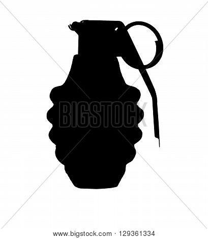 Hand grenade silhouette isolated over a white background