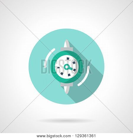 Gauge dial with single arrow and in blue frame. Equipment for measurement. Measuring technology for industry. Round flat color style vector icon. Web design element for site, mobile and business.