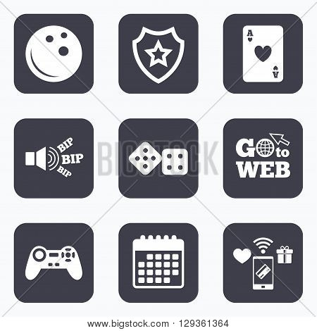 Mobile payments, wifi and calendar icons. Bowling and Casino icons. Video game joystick and playing card with dice symbols. Entertainment signs. Go to web symbol.