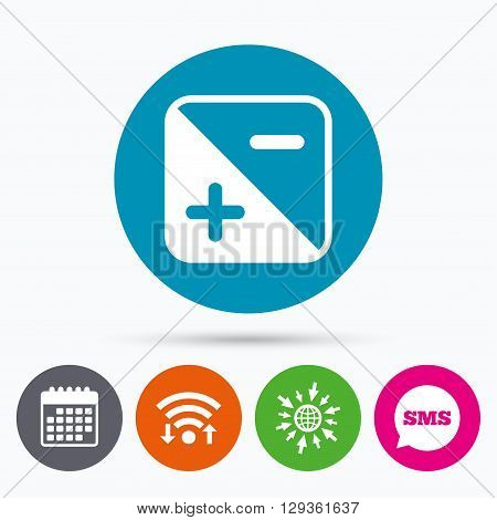 Wifi, Sms and calendar icons. Exposure photo camera sign icon. Quantity of light settings. Go to web globe.