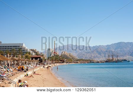 Eilat Israel - February 11 2016: The beach In Eilat. Eilat is a famous recreation city in Israel.