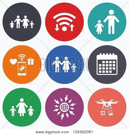 Wifi, mobile payments and drones icons. Family with two children icon. Parents and kids symbols. One-parent family signs. Mother and father divorce. Calendar symbol.