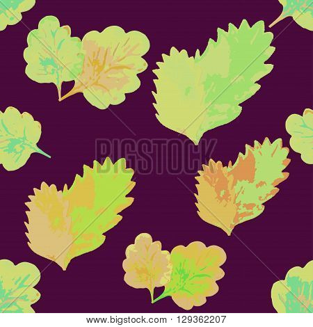 Seamless Pattern With Leaves On A Maroon Background. Vector Illustration