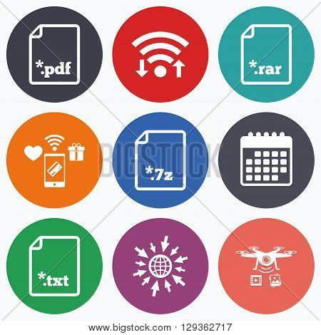 Wifi, mobile payments and drones icons. Download document icons. File extensions symbols. PDF, RAR, 7z and TXT signs. Calendar symbol.