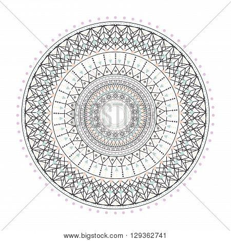 Trendy hipster colored circle, bright philosophical symbol, circular elements that are a religious, Aztec and African tattoo symbol, sacred geometry. Philosophy, spirituality, occultism symbol, Trendy hipster circle.