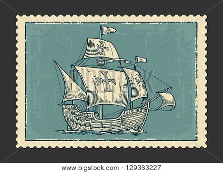 Sailing ship floating on the sea waves. Caravel Santa Maria with Columbus. Hand drawn design element. Vintage vector engraving illustration for poster label postmark. Isolated on blue background.