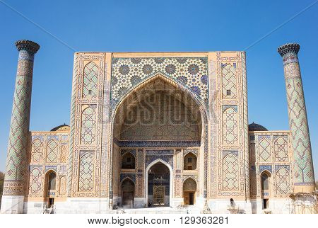 Uzbekistan Samarkand the Ulugbek madrassah in Registan square