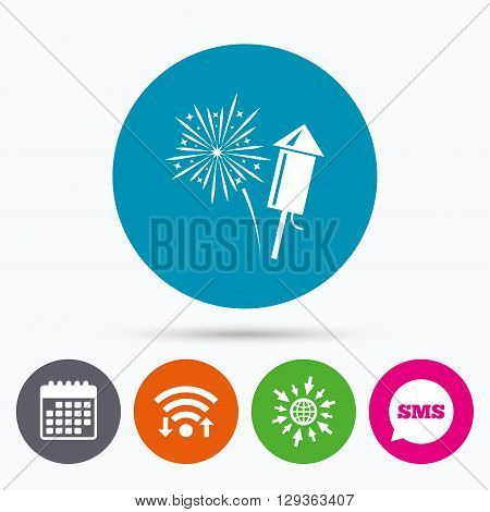 Wifi, Sms and calendar icons. Fireworks with rocket sign icon. Explosive pyrotechnic symbol. Go to web globe.