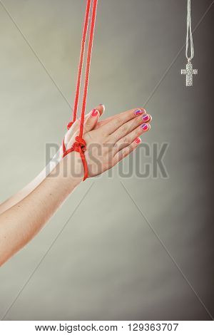 Tied Hands. Human Forced To Pray. Fake Faith.