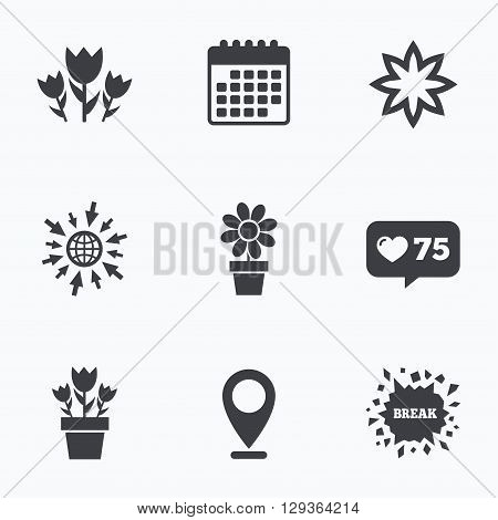 Calendar, like counter and go to web icons. Flowers icons. Bouquet of roses symbol. Flower with petals and leaves in a pot. Location pointer.
