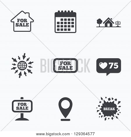 Calendar, like counter and go to web icons. For sale icons. Real estate selling signs. Home house symbol. Location pointer.