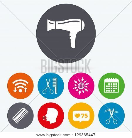 Wifi, like counter and calendar icons. Hairdresser icons. Scissors cut hair symbol. Comb hair with hairdryer sign. Human talk, go to web.
