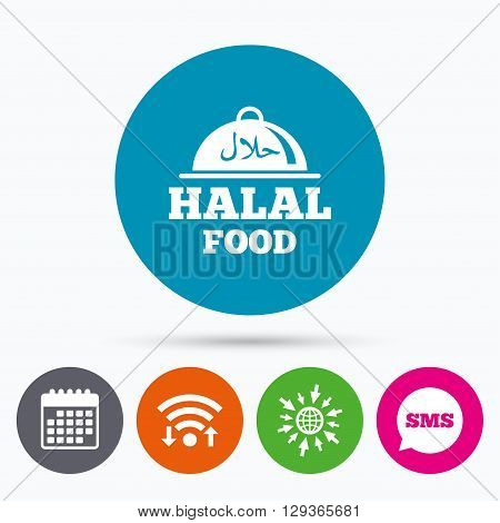 Wifi, Sms and calendar icons. Halal food product sign icon. Natural muslims food platter serving symbol. Go to web globe.