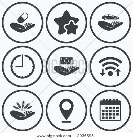 Clock, wifi and stars icons. Helping hands icons. Protection and insurance symbols. Save money, car and health medical insurance. Agriculture wheat sign. Calendar symbol.