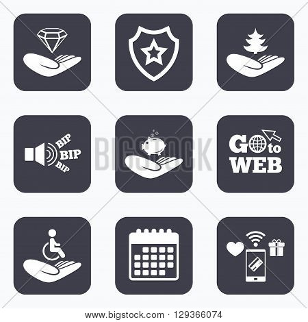 Mobile payments, wifi and calendar icons. Helping hands icons. Protection and insurance symbols. Financial money savings, save forest. Diamond brilliant sign. Disabled human. Go to web symbol.