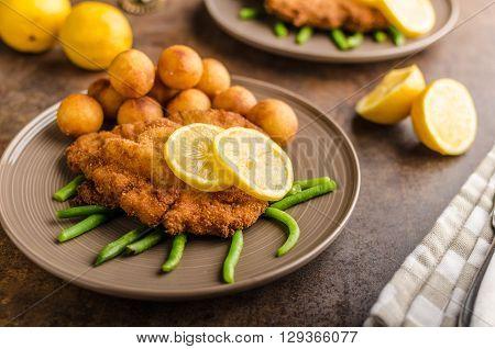 Wiener Schnitzel With Croquettes