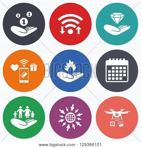 Wifi, mobile payments and drones icons. Helping hands icons. Financial money savings, family life insurance symbols. Diamond brilliant sign. Fire protection. Calendar symbol.