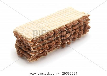 Delicious Wafer With Chocolate On White