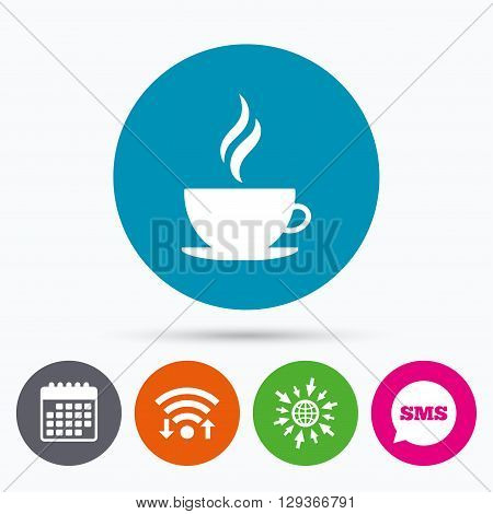 Wifi, Sms and calendar icons. Coffee cup sign icon. Hot coffee button. Hot tea drink with steam. Go to web globe.