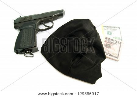 Black Mask, Gun And Dollars
