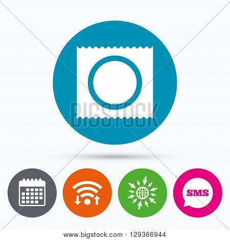 Wifi, Sms and calendar icons. Condom in package safe sex sign icon. Safe love symbol. Go to web globe.