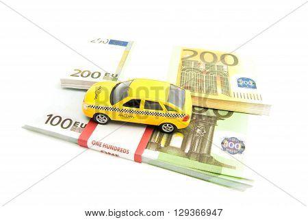 Taxi Car And Banknotes