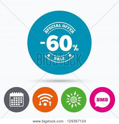 Wifi, Sms and calendar icons. 60 percent discount sign icon. Sale symbol. Special offer label. Go to web globe.