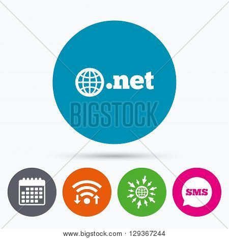 Wifi, Sms and calendar icons. Domain NET sign icon. Top-level internet domain symbol with globe. Go to web globe.