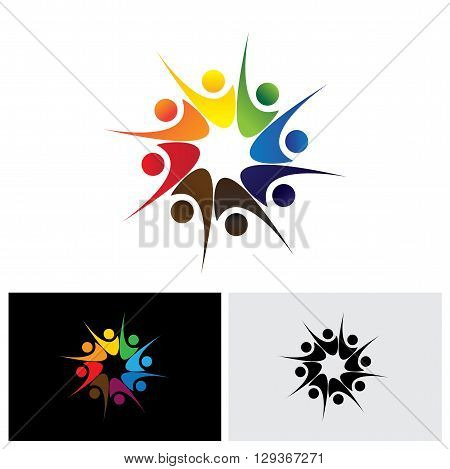 Concept Of Happy Employees Or Friends Sharing Joy & Happiness Vector Logo Icon