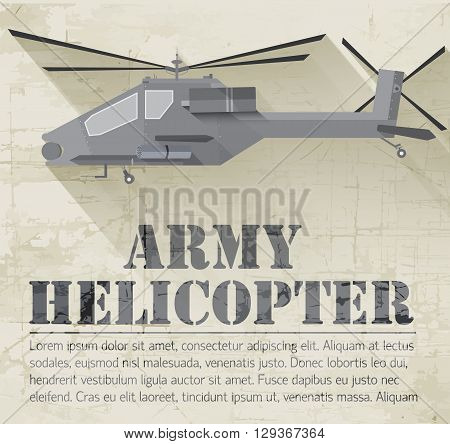 Grunge Military Helicopter Icon Background Concept. Vector Illus