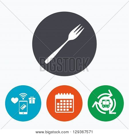 Eat sign icon. Cutlery symbol. Diagonal dessert trident fork. Mobile payments, calendar and wifi icons. Bus shuttle.