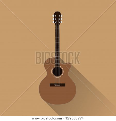 An acoustic guitar with concert shape. Top cedar.