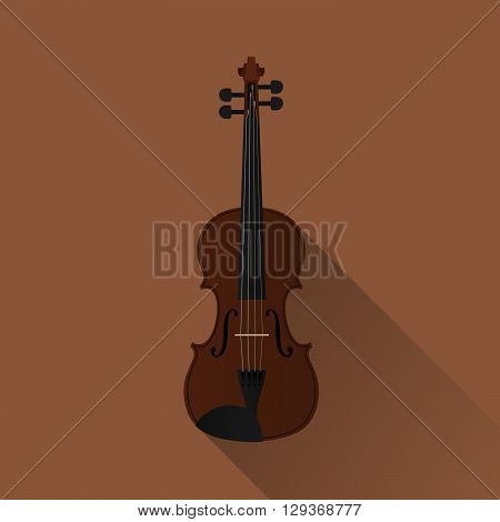 flat vector style of a full size violin