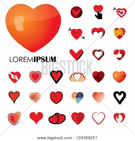 human heart and love vector logo icons ( signs ) or symbols.
