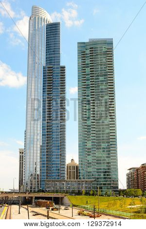 CHICAGO, ILLINOIS - AUGUST 22, 2015: High rise apartment buildings. One Museum Park and One Museum Park West Condominium Apartment buildings.
