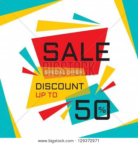 Sale vector banner - discount up to 50%. Special offer vector layout. Sale abstract advertising banner design.