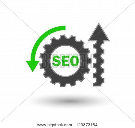 SEO concept icon, revolving gear in a big system